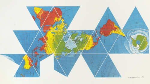 "augustmiller:  Buckminster Fuller's ""Dymaxion Map"" turns many of our assumptions about world maps on end, for considerable benefit; landmasses experience the least distortion of any projection, and are almost entirely contiguous. Furthermore, it folds into a perfect icosahedron, for viewing in the round. The boldness and sensibility that were stifled by convention in cartography are released here, with a long, thoughtful creative process, fueled by a life of practicality."