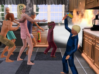 simsgonewrong:  Everyone is freaking out about the fire except little Damon.