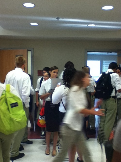 All the white shirts in a hallway   Lol