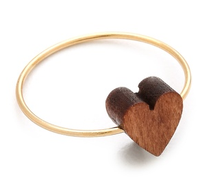 I know, I know…heart jewelry. (But I love the thin gold band and wooden heart.) Jules Smith Nature's Heart Ring, $49