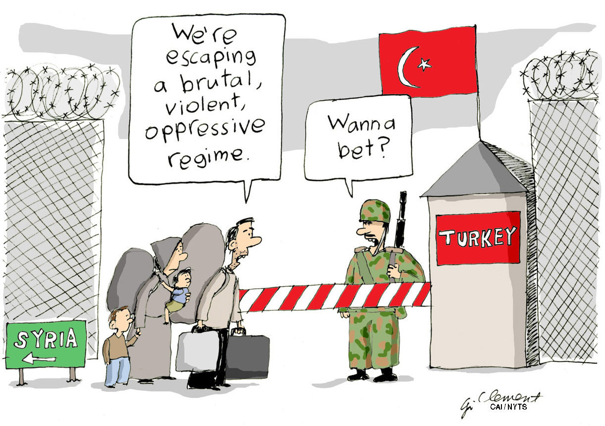 There's nothing very funny about what's going in Syria or Turkey. But cartoonist Gary Clement of Canada has just given us permission to LOL.