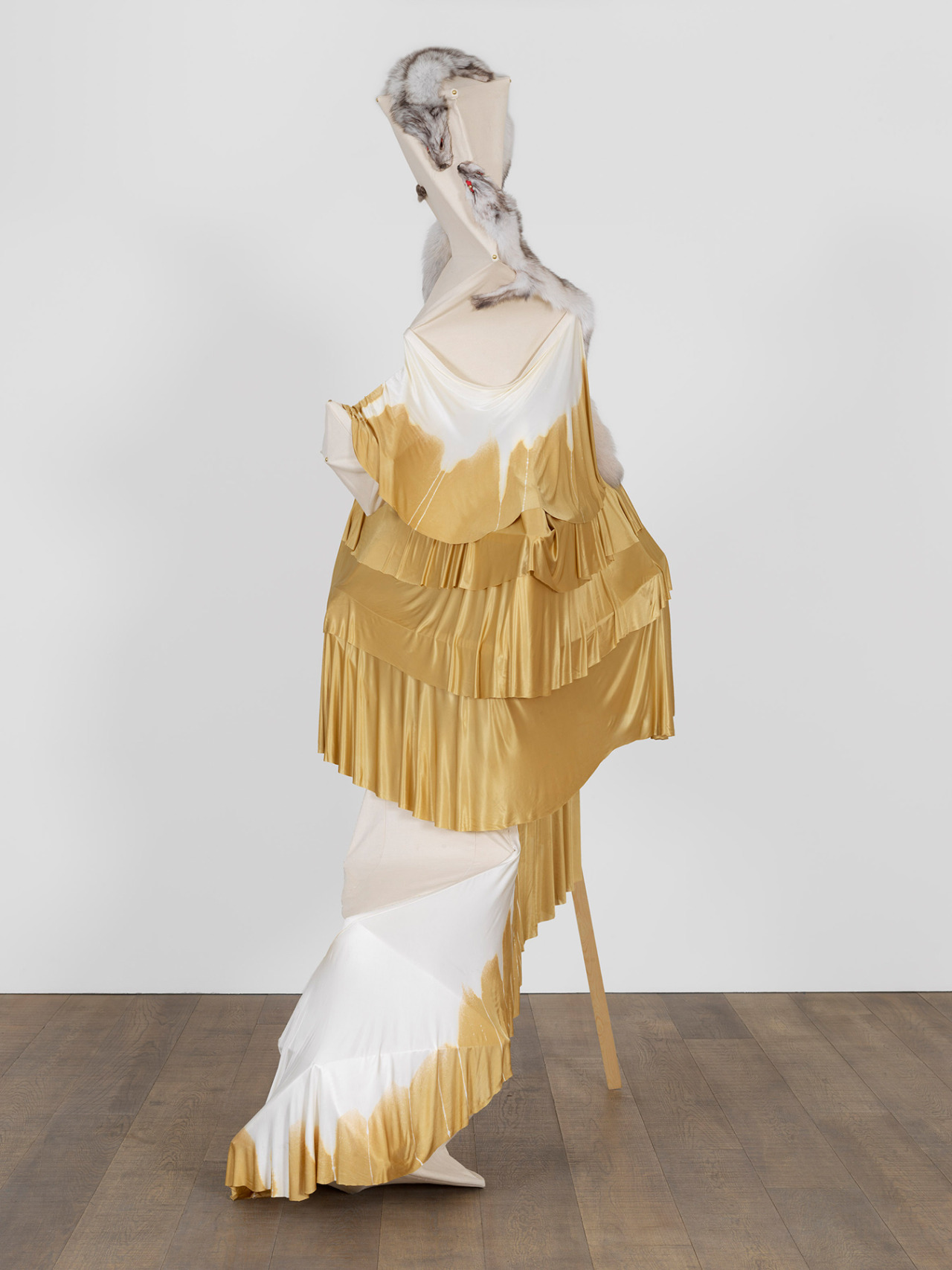 Lara Schnitger, Foxy Margarita, 2010 fabric, wood, fur, 114 1/8 × 65 × 43 1/4 inches Download Image Visit Source @ modernart.net