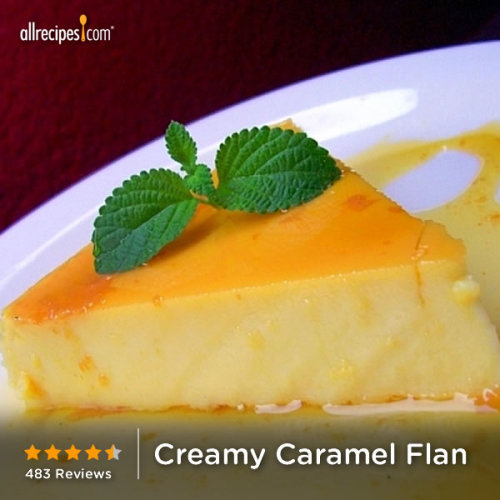 "Creamy Caramel Flan | ""This is EXACTLY the thick flan recipe I was looking for! I had an amazing special flan dessert in a Tex-Mex restaurant called ""El Jarrito"" in Katy, TX. Their flan was thick, almost as thick as a cheesecake, but soft and creamy. This was over 5 years ago and I still remember how great it tasted and loved its texture. This recipe is just like what I had - I'm so glad you wrote that this flan was a cross between an egg custard and cheesecake because that's exactly what it is. Thank you, Jo, posting this recipe - it's perfect!"""