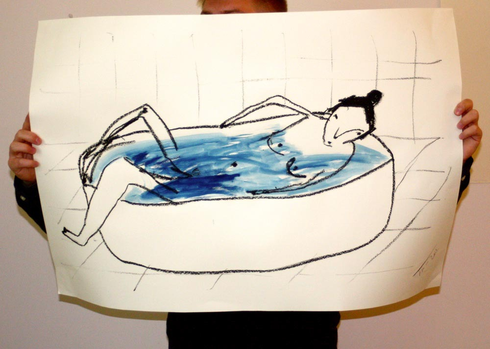 Huge bath lady. Oil stick and gouache on paper.