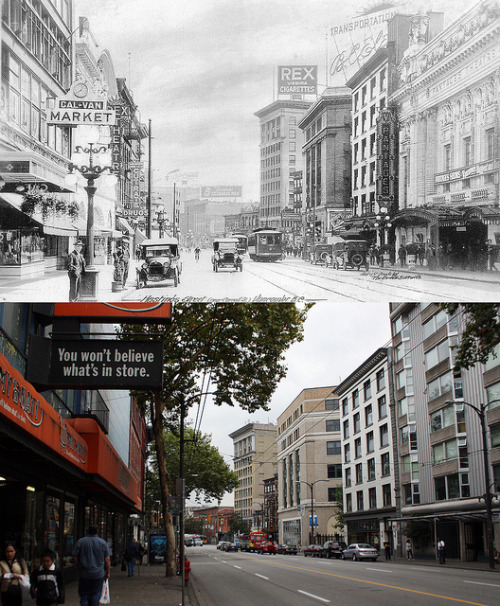 Hastings Street Looking East - 1925/2012 on Flickr.
