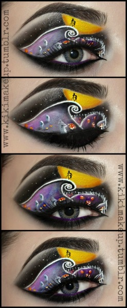 kikimakeup:  The Nightmare Before Christmas!  Products used: BSC Eye and lip primer, alabaster corrector & the smokey chrome towerset. Illamasqua's 'Scribe' white liquid liner & livid, hype, vulgar eyeshadows from the new paranormal collection. Sugarpill Cosmetics Poison plum eyeshadow on the waterline. Eyelashes are from House of Lashes in 'Bohemian Princess' & you can get these contact lenses from Beautifeye Coloured Contact Lenses   KIKI XO  Jack and Sally :)