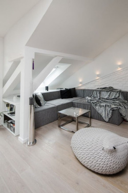 aros:  Grey Loft attic reconstruction in Prague by OOOOX