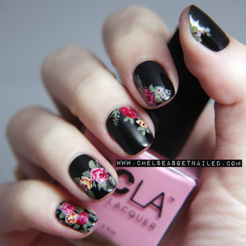getnail-d:  Dr. Marten Floral Inspired Nails  Inspired by these shoes, blog post on these nails here.