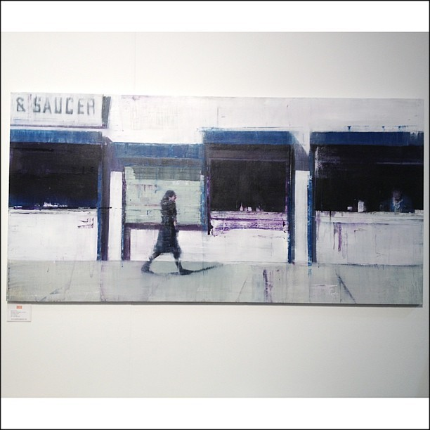 "Artist @brettamory a new painting from his ongoing ""Waiting"" series at ArtMRKT art fair this weekend in San Francisco.  #artmrkt #artfair #brettamory #sanfrancisco #waiting #sandraleegallery"