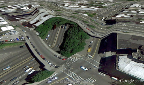 "When Google Earth Goes Awry ""At first, I thought they were glitches, or errors in the algorithm, but looking closer I realized the situation was actually more interesting — these images are not glitches. They are the absolute logical result of the system. They are an edge condition—an anomaly within the system, a nonstandard, an outlier, even, but not an error. These jarring moments expose how Google Earth works, focusing our attention on the software. They reveal a new model of representation: not through indexical photographs but through automated data collection from a myriad of different sources constantly updated and endlessly combined to create a seamless illusion; Google Earth is a database disguised as a photographic representation. These uncanny images focus our attention on that process itself, and the network of algorithms, computers, storage systems, automated cameras, maps, pilots, engineers, photographers, surveyors and map-makers that generate them."" - Clement Valla"
