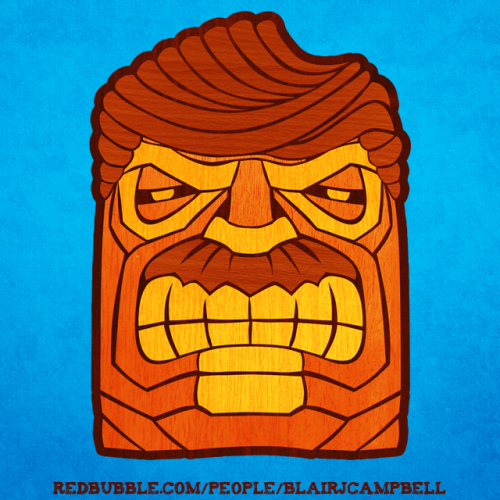 drawblairdraw:  Swanson Tiki  Fertility god or crazy government official? Inspired by a recent episode of Parks and Rec, here's a take on the awesome Hawaiian fertility god that looks like Ron Swanson.  http://www.redbubble.com/people/blairjcampbell/works/10164706-swanson-tiki