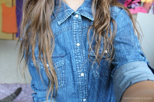 canon-couture:  my new denim button up :) lol @ my cat's tail in the background