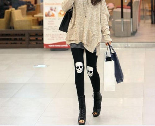 ghoulnextdoor:  Friday Fripperies YESSTYLE: Angel Love- Skull Print Leggings   Angel Love Skull Print LeggingsOne Size, Black$16.20    Her legs are so skinny