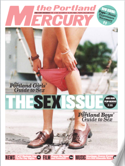 schwipschwap:  My Photo & Kiara's legs on the cover of this week's Portland Mercury !