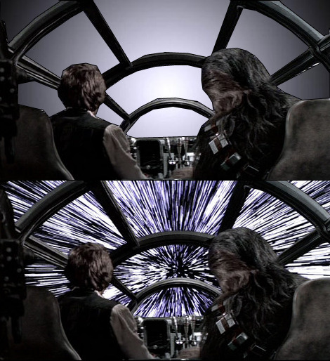 "Here's what flying through hyperspace really looks like!  ""…we would be most likely to see a central disc of bright light. This is due to the Doppler blue shift, which is a phenomenon caused by a source of electromagnetic radiation moving toward the person observing. The wavelength of the electromagnetic radiation, in the case of hyperspace travel, would be shortened, and thus, for someone in, say, a Millennium Falcon-type craft, the light from the surrounding stars would decrease and shift out of the visible spectrum and into the X-ray range."" Plus, Snyder's ""Star Wars"" ain't real, ""X-Men"" is all-female, ""The Walking Dead"" gets a new showrunner and much more in the Daily Geek!"