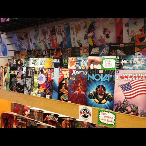 #comics ready to go for tomorrow. #newcomicday #dc #marvel #image #darkhorse #nova #superior #spiderman #captainamerica #justiceleague #avengers #hulk #greenlantern #corps #jla #nightwing #redhood #wolverine #wonderwoman #deadpool #comicstore #comicshop #vibe (at Comic & Figure Addicts)