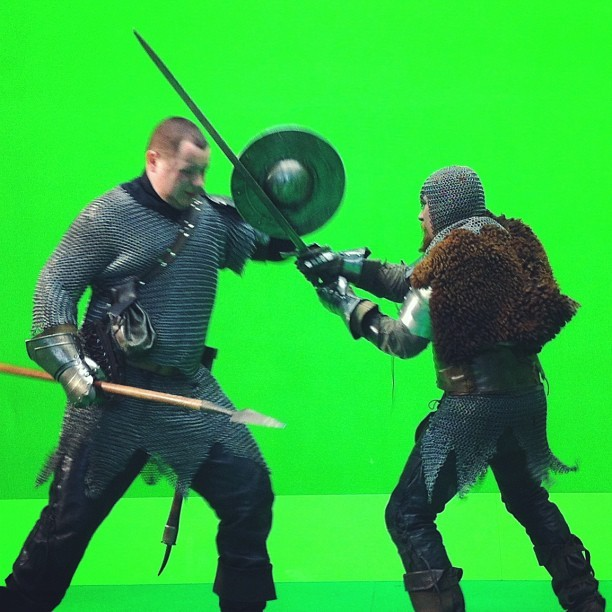 Actors' battle ::: #green #greenkey #greenscreen #studio #production #filmmaking #directing #director #fight #light #weapon #metal #iron #wood #people #men #duel #picoftheday #actor #actors #saturday #work #shooting #hard #battle #skin #stunt #stunts
