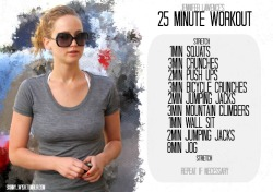 skinny-w1sh:  Jennifer Lawrence's 25 Minute Workout
