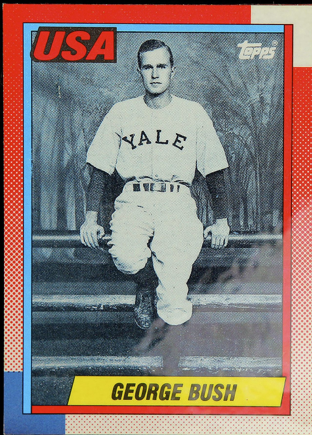 This photo, released by Professional Sports Authenticator, shows a baseball card produced by Topps trading card company in 1990 that depicts former President George H.W. Bush as a Yale first baseman. The card was one of those given directly to President Bush at the White House on Feb. 5, 1990 by Topps CEO Arthur Shorin. Baseball cards depicting the former president have fetched thousands of dollars each since they were specially-made for the White House in 1990. But Joe Orlando, president of Professional Sports Authenticator in Santa Ana, Calif., said Tuesday, July 9, 2013, that many of the Bush cards in circulation were not part of the set presented to the president. (Professional Sports Authenticator/The Associated Press)