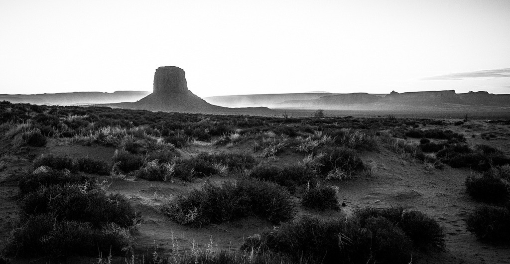 Mitchell Butte at Monument Valley I took this during the end of the 2012 Navajo Nation Balloon Festival at Monument Valley. It was a dusty as fuck day. I envisioned what you see as the winds picked up and I looked towards Mitch butte when everything was over. As I was running towards the perfect spot to get a nice foreground to compliment the brume and dusty horizon, I could feel the gritty grind of dirt crackling between my teeth as I composed my shot. I took a few seconds to adjust my exposure. Then boom……….it was done. I looked at my Canon's LCD screen. I smiled.  It's an awesome day when you capture when you envision.  - Donovan