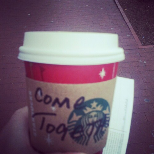 Starbucks' message to Capitol Hill on the fiscal cliff: Come together, right now, over coffee. They are writing this on every cup ordered near Capitol Hill this week. (image via Twitter user @lyndseyfifield)