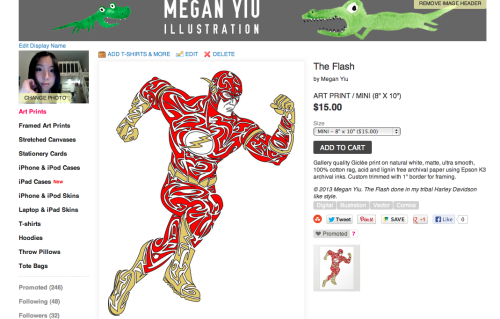 Just sold a mini art print of my design of The Flash! FREE SHIPPING until May 12! Get on that! Support me, buy my designs! Thank you!!! Megan Yiu Society6