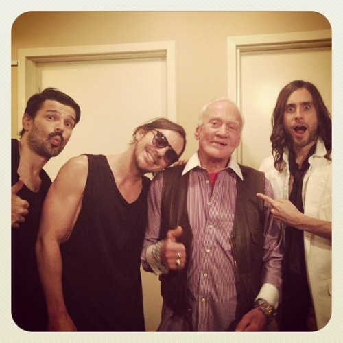 30secondstomars:  Our good friend Buzz Aldrin stopped by for our performance on Jimmy Kimmel Live yesterday!! Watch it TONIGHT on ABC at 11:35 PM PT!