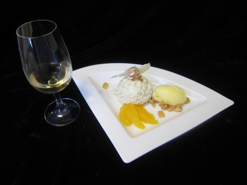 Wine Pairing Coconut curry rice pudding with orange sorbet, nut granola, orange segments, and black tea honey gelee. Paired with Quadry Winery's Electra, an orange muscat from 2007.