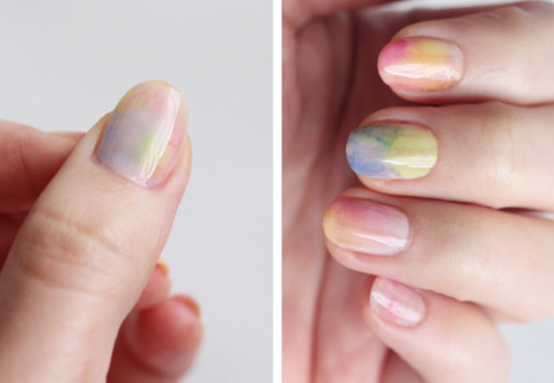 For those who love a bit of colour but are not ready for neon nails just yet, the beautiful Water colour nail manicure tutorial from Small Good Things is a more subtle alternative. Beautiful! I will have to try this out.