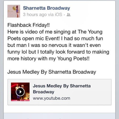 Flashback Friday!! Me singing at the @youngpoetsmmxii open mic event! Go to my Facebook and check it out or look it up on YouTube!! I had lots of fun singing with them!!
