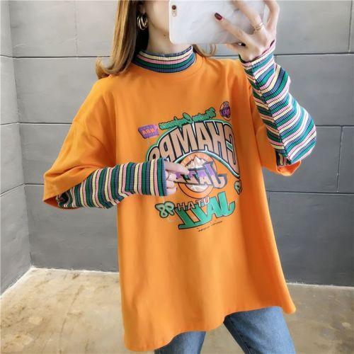 Mock Two-Piece Striped-Sleeve Lettering T-Shirt #tshirts#yellow tshirt#Korean fashion#korean style