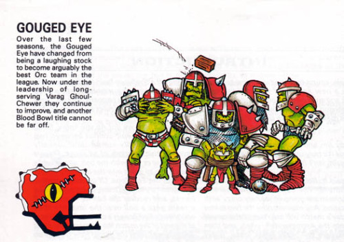 Interior illo, Bloodbowl 2nd Edition. Pete Knifton, 1988.