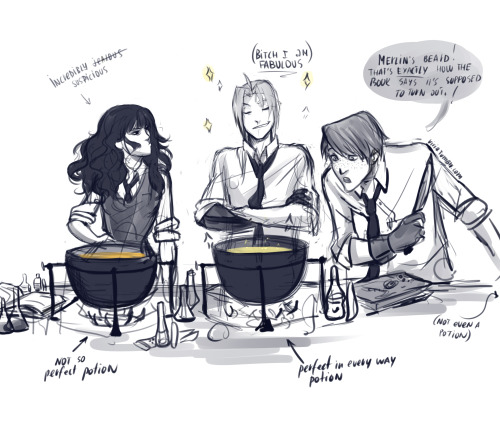 in which Edward is a Hogwarts student and obviously better in potions than Hermione. Ron is amused and Hermione is jealous suspicious:D Someone gave me the idea about Ed being perfect in potions, so I gave it a try and a bit of continuation:D