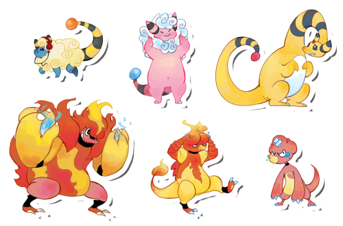 applewaffles:  Online store found here Every weekend I draw a set of six pokemon. Each sticker is printed on vinyl paper or semi gloss adhesive paper and is about 1.5 - 3 inches and waterproof.