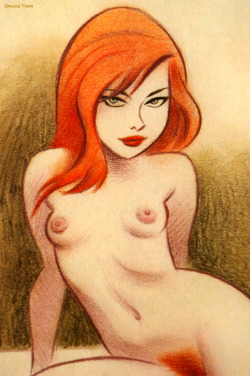 "bunnidarling:  elegantdirtyporn:  Sexy Redhead. Drawing by Bruce Timm From ""Naughty and Nice: The Good Girl Art of Bruce Timm""  YESSSSSS MINE MINE MINE ALL MINE"
