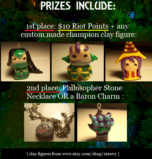weagueofwegends:  Time to give away some RP and clay charms! Winners will be selected on March 15th (This is when my Spring Break starts so I'll have lots of time to make these clay figures) Good luck everyone! ^~^ Background source [x] + Clay charm shop [x]