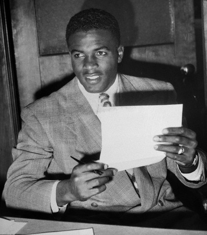 Baseball legend Jackie Robinson was born on this day in 1919 in Cairo, Georgia. In this 1947 photograph, Mr. Robinson is holding his contract to play with the Brooklyn Dodgers. It was 66 years ago this April that Mr. Robinson broke the color barrier in Major League Baseball. Photo: Bettman/Corbis