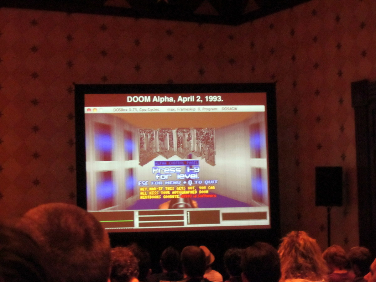 John Romero shows some shots of DOOM in early development stages