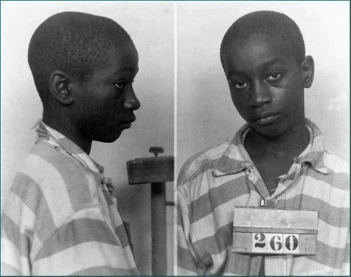 "youurlove:  Junius Stinney was the youngest person in America to be executed on death row in 1944 at age 14. He was quickly accused by the (white police) of 'killing' two little (white girls) with lack of evidence. His conviction and sentencing opened and closed in one day. There were no witnesses called and there was no transcript of the trial details and black people were not allowed inside the courtroom during that time. [I always repost this because i don't want anyone to forget about him!]  Stinney walked to the execution chamber with a Bible, under his arm, which he later used as a booster seat in the electric chair. Standing 5'1"" and weighing just over 90 pounds, he was small for his age, which presented difficulties in securing him to the frame holding the electrodes. The state's adult-sized face-mask did not fit him, and when he was hit with the first 2,400 V surge of electricity, the mask covering his face slipped off, ""revealing his wide-open, tearful eyes and saliva coming from his mouth""…After two more jolts of electricity, the boy was dead."" Stinney was declared dead within four minutes of the initial electrocution. From the time of the murders until Stinney's execution, eighty-one days had passed"