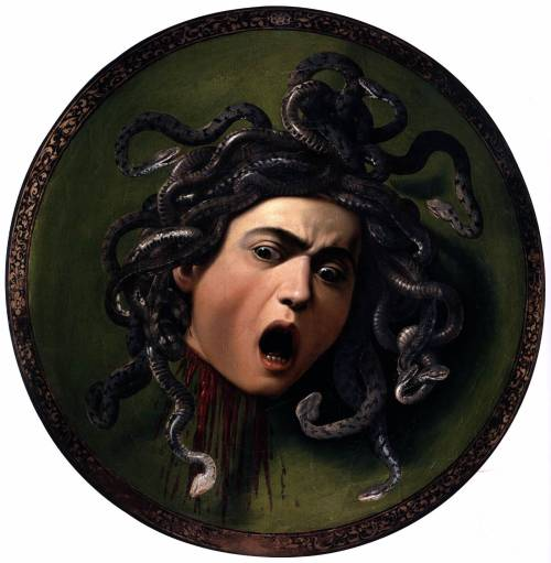 themedusafactor:  In Ovid's Metamorphoses Medusa began life as a beautiful woman. She was then raped in Athena's temple and as a punishment she was transformed into a terrifying gorgon, who was then beheaded by Perseus. She has been a potent symbol for female power for a long time and her myth is one of my favourites.  Most people dont know the origins of her myth but she was actually a victim who was portrayed as a monster.