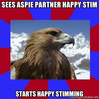 Um, I love to do things that make my partner happy stim.  Ze usually flaps zir hands and coos/giggles.  This often makes me happy stim.