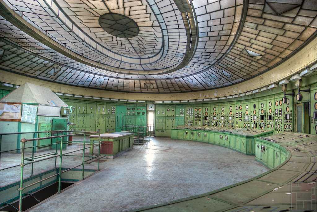 abandonedography:  The control room of the abandoned transformer house at Kelenföld Power Plant. The building was designed by Virgil Borbíró and was constructed during 1927-1929. The huge opal glass ceiling gives the room an unspeakable atmosphere. However the Power Plant is still operational this building is abandoned and not being used. By blackdog