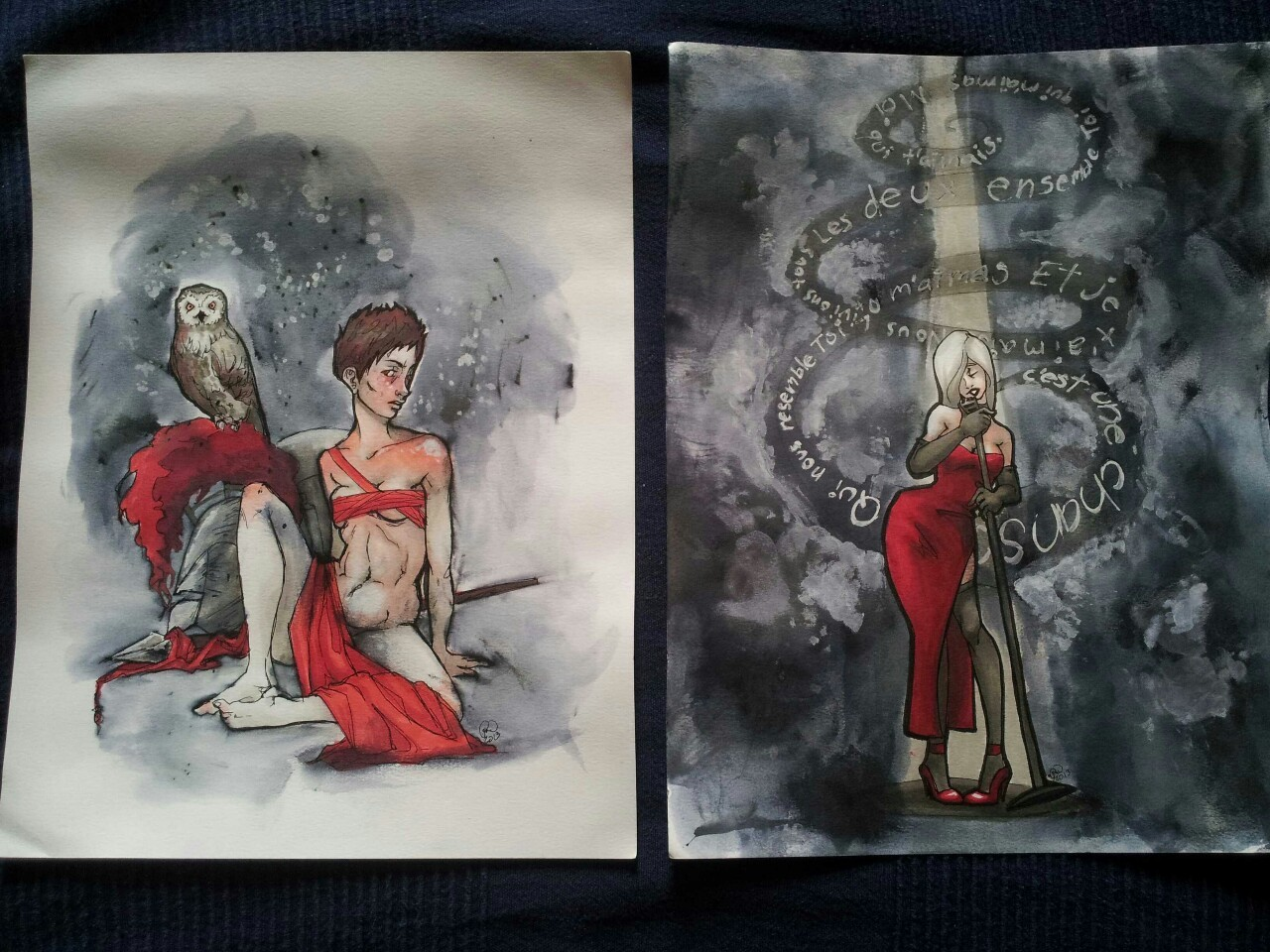 Drawings! Real finished ones with ink and watercolor paper and everything!
