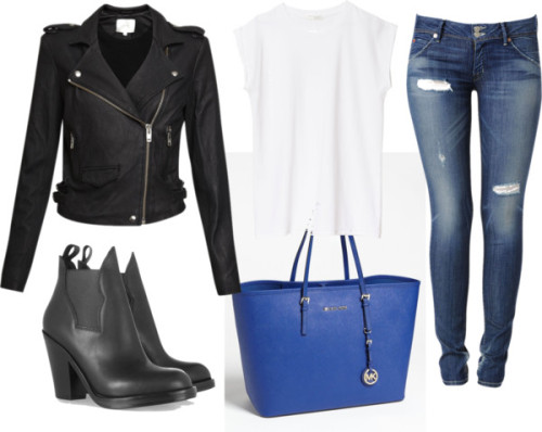 kellyrosemills:   Winter. by kellyrosestyle featuring real leather jackets Zara  shirt / IRO real leather jacket, $1,305 / Hudson Jeans super skinny jeans / Acne platform boots / MICHAEL Michael Kors tote travel bag