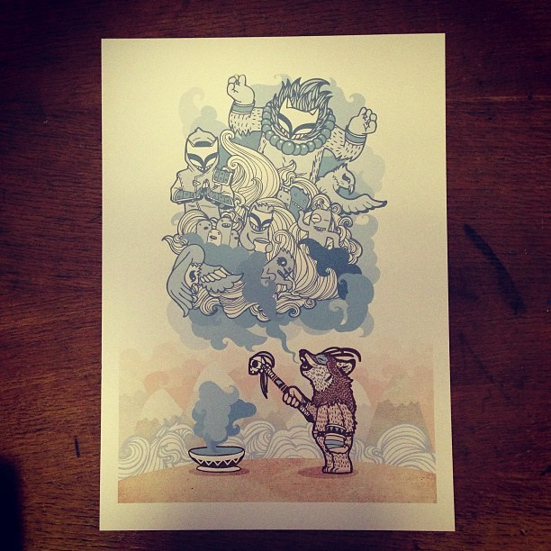 "Test print of ""The Story Teller"" to stock online at www.geolawprints.co.uk #illustration"
