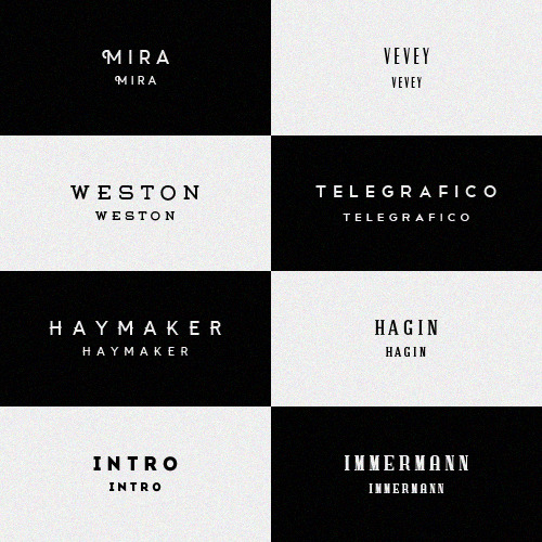 FONT PACK #02 myra vevey weston telegrafico haymaker hagin intro immermann