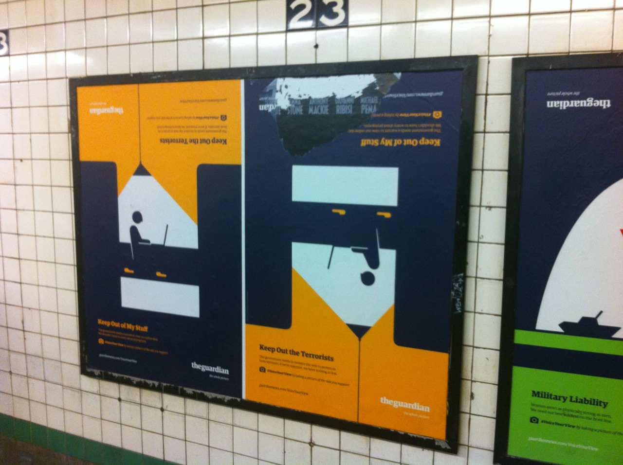 Subway posters for The Guardian: Get Out of My Stuff/Keep Out the Terrorists
