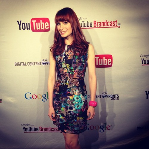 At the YouTube Brandcast event in NYC! My dress is made of scuba suit material! Trippy right?!