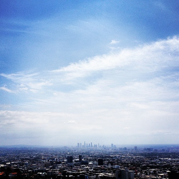 LA skyline from Runyon Canyon Park - #skyline #sky #clouds #la #losangeles #hollywood #hollywoodhills #runyon #runyoncanyon #hikela #hike #laweather #sunny #beautifulday #stayready #stayfit (at Runyon Canyon Park)