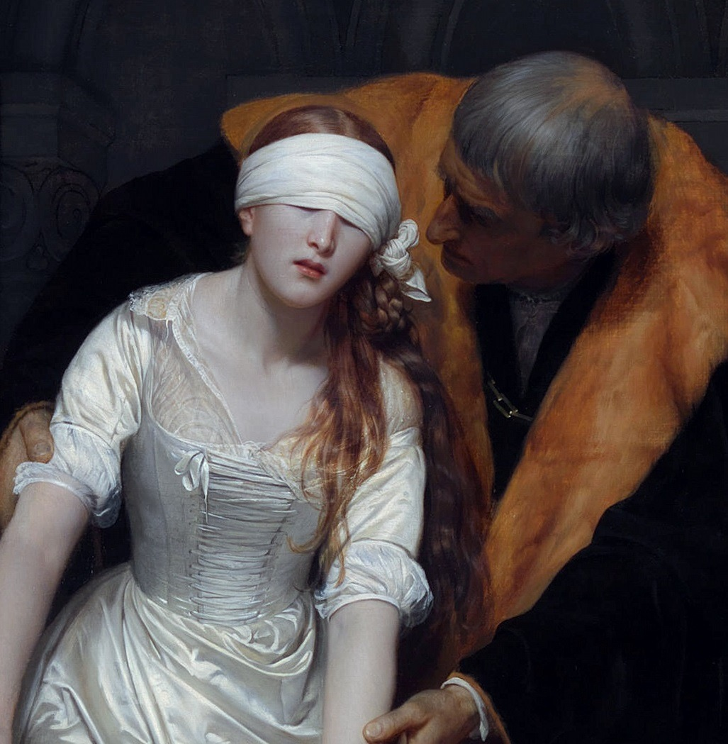 Paul Delaroche - The Execution of Lady Jane Grey Detail